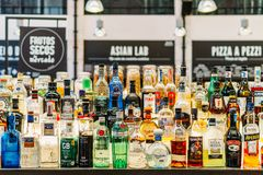 Alcohol Bottles On Restaurant Drink Bar Royalty Free Stock Photography