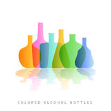 Alcohol bottles silhouette colored. Colorful bottle on white background. Concept template for card. Vector illustration for you web design site or print cover Stock Photos