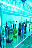 Alcohol bottles in a trendy bar Royalty Free Stock Photography