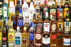 Alcohol bottles Royalty Free Stock Images
