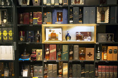 Alcohol boutique in Duty Free Shop Stock Photos