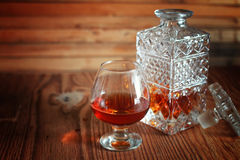 Alcohol brandy set glass and carafe Royalty Free Stock Photo