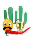 Alcohol and cactus. Tequila glass and mexican toys of vegetables Stock Photos