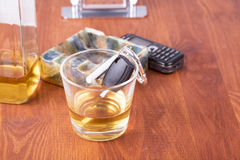 Alcohol, car, keys ,tragedy Royalty Free Stock Photos