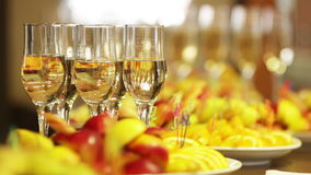 Alcohol. Champagne and wine on a celebratory banquet stock video footage