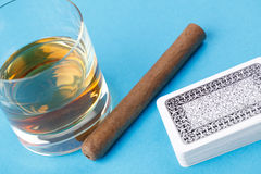 Alcohol and cigar Royalty Free Stock Photo