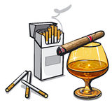 Alcohol and cigarettes Stock Photography