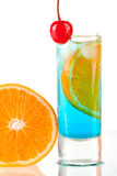 Alcohol cocktail with blue curacao Stock Image