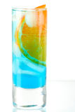 Alcohol cocktail with blue curacao and orange Royalty Free Stock Images