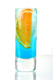 Alcohol cocktail with blue curacao and orange Stock Photos