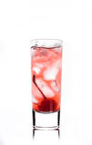 Alcohol cocktail with cherry in shot glass Royalty Free Stock Photos