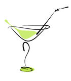 Alcohol cocktail in glass with straw. On white. Vector eps10 illustration Stock Images
