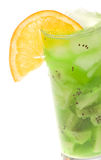 Alcohol Cocktail with kiwi and slice of orange Stock Photos