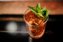 Alcohol cocktail with mint leaves Royalty Free Stock Image