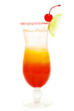 Alcohol cocktail with red cherry and ice Stock Images