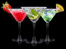 Alcohol cocktail set on a black Stock Photography