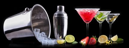 Alcohol cocktail set on a black Royalty Free Stock Image