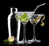 Alcohol cocktail set on a black Royalty Free Stock Photography