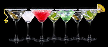 Alcohol cocktail set on a black Royalty Free Stock Photo