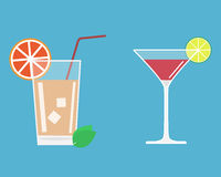 Alcohol cocktail. Set. Coctails with piece of lime Stock Photos