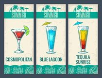 Alcohol cocktail set. Cosmopolitan, blue lagoon and tequila sunrise. royalty free illustration