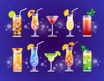 Alcohol Cocktail Set Glasses Drinks Stock Images