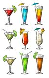 Alcohol cocktail set - margarita, sex on the beach, pina colada, daiquiri, mojito, cuba libre, cosmopolitan, blue lagoon vector illustration