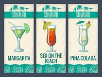 Alcohol cocktail set. Margarita, sex on the beach, pina colada. Vintage vector engraving illustration for web, poster, menu, invitation to summer beach party vector illustration