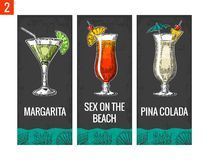 Alcohol cocktail set. Margarita, sex on the beach, pina colada. Vintage vector engraving illustration for web, poster, menu. Invitation to summer beach party stock illustration