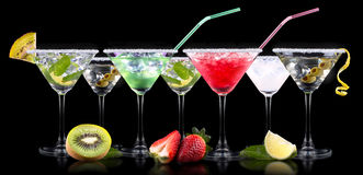 Alcohol cocktail set with summer fruits Royalty Free Stock Photography
