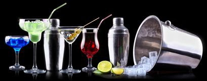 Alcohol cocktail set with summer fruits Royalty Free Stock Photos