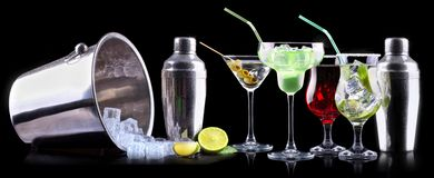 Alcohol cocktail set with summer fruits Stock Photos