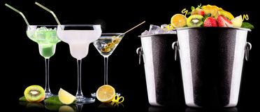 Alcohol cocktail set with summer fruits Royalty Free Stock Image
