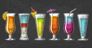 Alcohol cocktail set. royalty free illustration