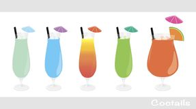 Mix of alcohol cocktail set Royalty Free Stock Photo