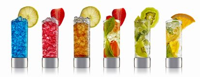 Alcohol cocktail set. On a white with fresh summer fruits Royalty Free Stock Image