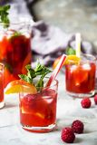 Alcohol cocktail for a summer party. Light summer refreshing drink with fruits and berries - sangria. In glasses on a gray table Stock Image