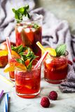 Alcohol cocktail for a summer party. Light summer refreshing drink with fruits and berries - sangria. In glasses on a gray table Royalty Free Stock Photos