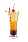 Alcohol cocktail with a tube and maraschino cherry on a white background Stock Image