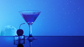 Alcohol cocktail in water on night sky background Stock Images