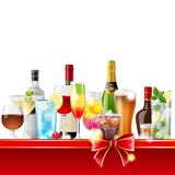 Alcohol cocktails and bottles Royalty Free Stock Photography