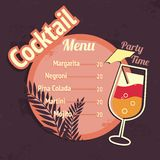 Alcohol cocktails drink menu card template. Alcohol cocktails drink restaurant beach cafe menu card template vector illustration Royalty Free Stock Photo