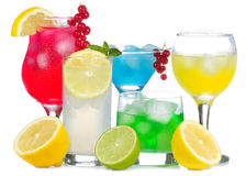 Alcohol cocktails with fruits and berries Stock Photos