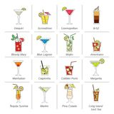 Alcohol Cocktails Icons Flat Line Royalty Free Stock Photo
