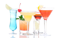 Alcohol Cocktails martini, margarita. Vodka, cosmopolitan isolated on a white background Royalty Free Stock Images