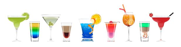 Alcohol cocktails set. Stock Image