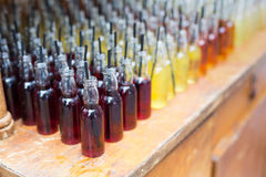 Alcohol cocktails, shots in drinking bottles Stock Image