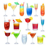 Alcohol coctails and other drinks set Royalty Free Stock Photography