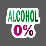 0% alcohol  colored sticker. Vector icon. Layers grouped for eas. 0 percent alcohol colored sticker. Vector icon. Layers grouped for easy editing illustration Stock Photo