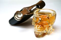Alcohol in Cool Glass and Flask Royalty Free Stock Photos